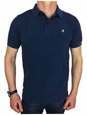 Replay Mens Garment Dyed Branded Polo Shirt in Navy Blue