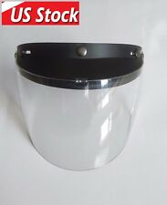 Universal 3 Snap Flip Up Visor Shield Lens for Open Face Motorcycle Helmet