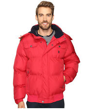 US POLO ASSN. Mens Puffer Jacket Hood w- Fur Trim Quilted Winter Warm L Red NWT