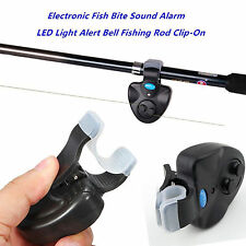 Black Electronic LED Light Fish Bite Sound Alarm Bell Clip On Fishing Rod New DL