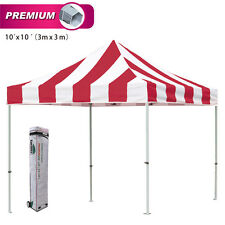 Eurmax Ez Pop Up 3x3m Carnival Gazebo Commercial Striped Tent Marquee+Roller Bag