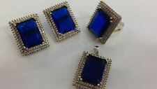 925 SILVER HANDMADE JEWELRY SUBLIME RICH BLUE SAPPHIRE & WHITE CZ FULL SETS