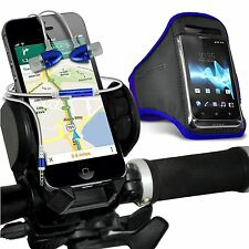 Quality Sports Armband Case Cover+Bike Bicycle Holder+In Ear Headphones✔BLUE