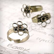 5/10pcs Antique Brass Flower Ring Mountings DIY Jewellery Settings 4 Sizes