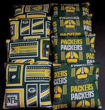 VINTAGE CORNHOLE BEAN BAGS made w GREEN BAY PACKERS fabric logo bags NEW !!