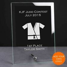 Personalised Judo Glass Plaque Trophy Award - Engraved Judo Trophies