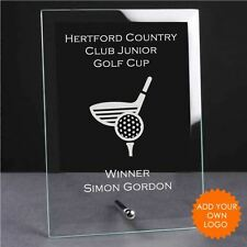 Personalised Golf Glass Plaque Trophy Award - Engraved Golf Trophies