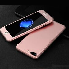 Rose Gold 360 Case for iPhone 7 7 Plus and Clear Glass Screen Protector Cover