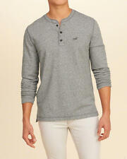 Abercrombie & Fitch – Hollister Mens Textured Terry Henley T-Shirt S Grey NWT