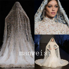 Luxury 1 T Cathedral Wedding Veils Lace Applique Bead Long White Bridal Veil