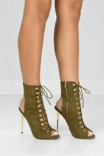 Cut Out Open Toe Stiletto High Heel Peep Toe Ankle Booties Addict - Olive