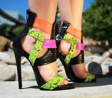 BLACK MULTI STUDDED HIGH HEEL SINGLE SOLE - STRAPPY - PACCO - NELLY BERNAL