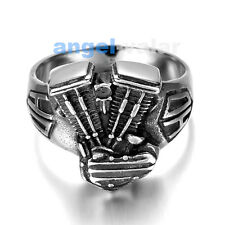 Jewelry Men's Stainless Steel Cast Engine Ring Harley Davidson HD Fat Boy Biker