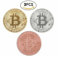 Rare Bitcoin Collectible Gift In Stock Gold Silver Commemorative Coin Collection