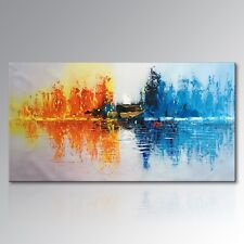 Handmade Abstract Fire Ice Oil Painting on Canvas Wall Art for Home Decor Framed