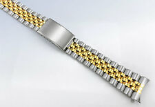 18mm 19mm 20mm Two-Tone Jubilee Style WATCH Band Bracelet w Curved Ends