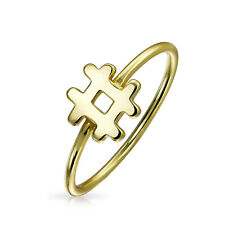 Gold Plated 925 Sterling Silver Shiny Hashtag Ring