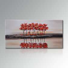 Handmade Landscape Canvas Wall Art Red Tree Reflection Oil Painting for Decor
