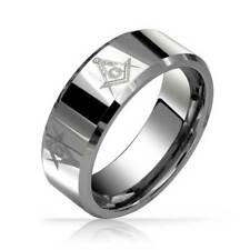 Freemason Masonic Mens Tungsten Band Ring Beveled Edge 8mm