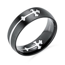 Black Steel Fleur De Lis Cross Cut Out Mens Puzzle Ring