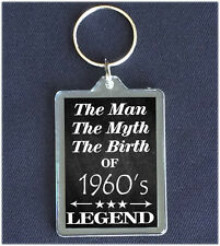 The Man The Myth The Legend BIRTHDAY Gift keyring 30th 40 50 60 1940's 50's 60's