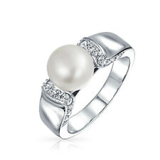 Bling Jewelry Art Deco Style Freshwater Cultured Pearl CZ Ring Rhodium Plated