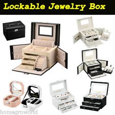 Faux Leather Jewelry Box Organizer Watch Travel Storage Case Makeup Locked Key