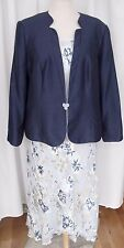 JACQUES VERT 2 IN 1 AQUA  DUSTY BLUE SILK DEVORE SKIRT TOP NAVY JACKET SKIRT S1A