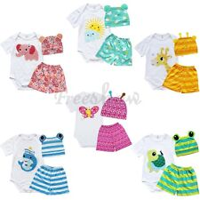 3pcs Cute Boy Girl Baby Cotton Unisex Cap Hat+Romper+Shorts Clothing Set 0-18M