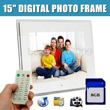 "15"" LED HD Digital Picture Photo Frame Movie Player Remote Control + 8GB SD Card"