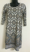 Ex Wallis Geometric Print Border Hem Casual Formal Tunic Shirt Dress Size 8-18