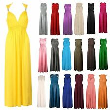 WOMENS LADIES STRETCH CASUAL HOLIDAY SUMMER COIL JERSEY LONG EVENING MAXI DRESS