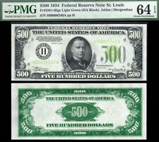 1934 $500 LIME GREEN SEAL *St Louis* FRN Five Hundred Dollar Bill PMG CU64EPQ!