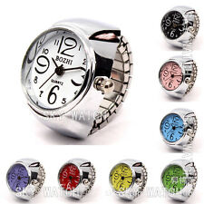 Creative Fashion Lady Girl Steel Round Elastic Quartz Finger Ring Watch Gift