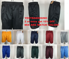 Mens MESH Shorts Plain Workout Uniforms Pockets Jersey pants S-5XL