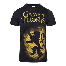 Official Black Game Of Thrones House Lannister Sigil Distressed Lion T Shirt