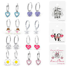 Childrens kids 925 silver 12mm hoop crystal heart star butterfly pink earrings