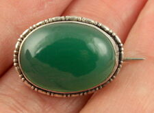 Vintage Art Deco c 1930 sterling silver green agate chrysoprase brooch pin