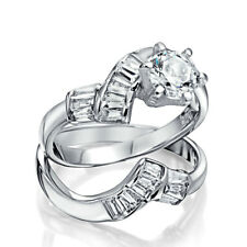 Bling Jewelry Sterling Silver Baguette CZ 1Ct Engagement Wedding Ring Set