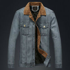 NEW Fashion Mens Warm Leather Jacket Fleece Winter Coat Parka Outerwear