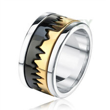 Men's Stainless Steel Ring special Heartbeat sawtooth Black Gold Two Tone Band