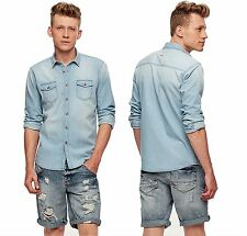 New-Mens-Denim-Shirt-Long-Sleeve-Double-Chest-Pocket-Collar-Cotton-Casual-Top