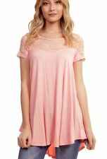NWT~BOUTIQUE~REBORN J~PEACH~TUNIC~LACE~SMALL