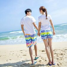 Men Women Summer Couple Beach Shorts Flower Plaid Stripe Lovers Swim Short Pants