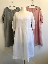 LAGENLOOK NEW MADE IN ITALY 100% LINEN DRESS / TUNIC ONE SIZE FITS UP TO UK 18