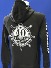 40th Anniversary Unisex Hoodie,  Zip  Sea Shepherd , Black