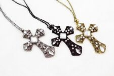 12 PC CROSS FASHION JEWELRY NECKLACE CRYSTAL RHINESTONE WHOLESALE LOT