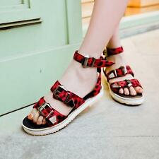 Summer Womens Flat Punk Buckle Strap Gladiator Open Toe Roma Sandals Shoes Sizes