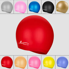 Kids Adult Sports Silicone Swim Cap Flexible Durable Elasticity Swimming Hat NEW