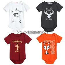 Newborn Baby Girl Boys Clothes Short Sleeve Bodysuit Romper Jumpsuit Playsuit